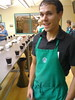 Luke looking mean in green at the Starbucks cupping by The PROBAR