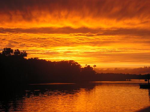 sunset fire florida palmtrees crystalriver