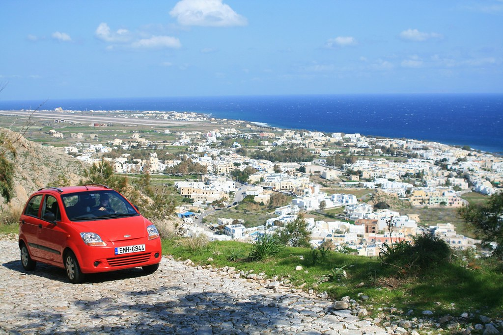 Our rental car in Santorini