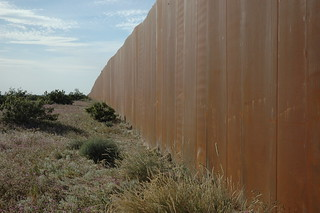The Wall, US border, separating Mexico from the US, along Highway 2, Sonora Desert, Mexican side
