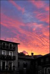 At sunset, at dusk