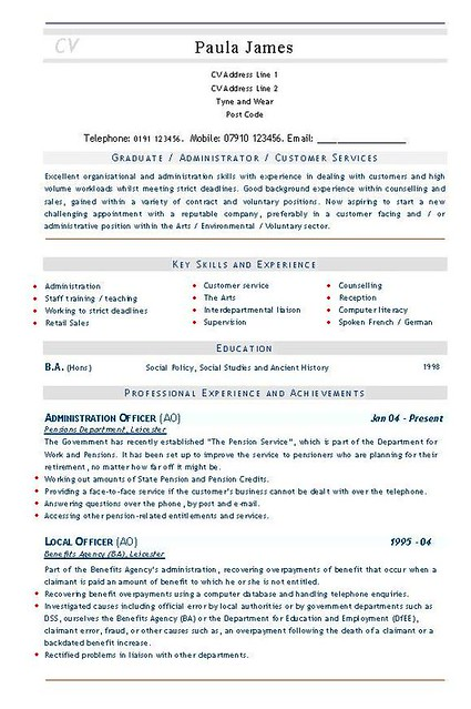 civil service resume form ms word doc rich text plain text and admin officer ao civil - Pensions Administration Sample Resume