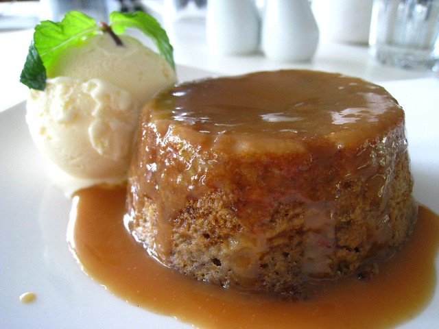 sticky date pudding with butterscotch sauce and ginger ice cream