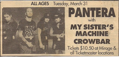 03/31/92 Pantera/My Sister's Machine/Crowbar @ Mirage, Minneapolis, MN