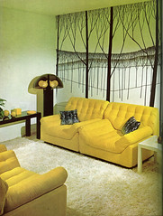 Trees wall mural, yellow modular chairs