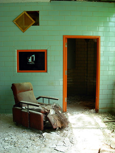 street urban orange streetart brick art television mi hospital grate graffiti three stencil decay michigan teal dot doorway entertainment armchair trim abandonment regional multilayer psychiatric northville institution nph institutionalized nrph excusemysarcasm