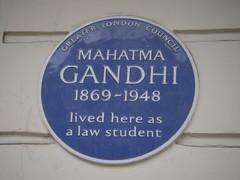 Photo of Mahatma Gandhi blue plaque