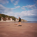 Richard and Skitters on Dane's Dyke beach