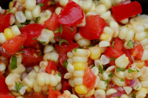 Tomato, sweet corn and basil salad by Eve Fox, Garden of Eating blog