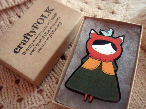 Little Miss Fox Wooden Brooch
