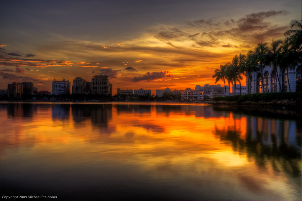Sunset over West Palm Beach, FL by MDSimages.com