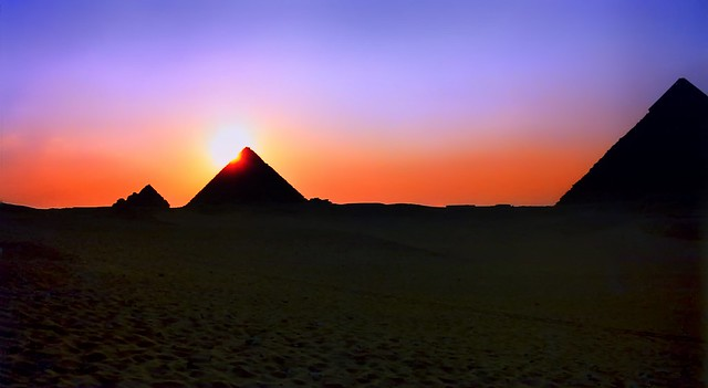 Sunset over Menkaure Pyramid, Giza