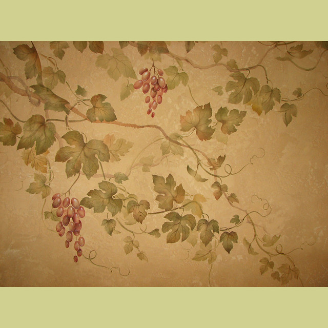 Stencil Design Wall Decor : Grape vine stencil over decorative plaster wall stencils
