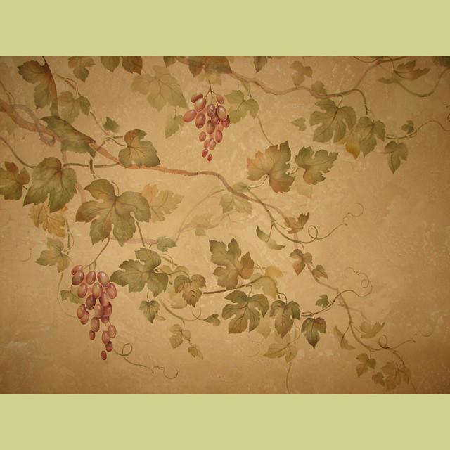 grape vine stencil over decorative plaster wall stencils