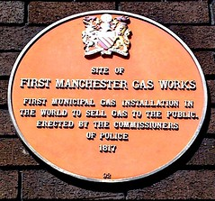 Photo of first Manchester Gas Works red plaque