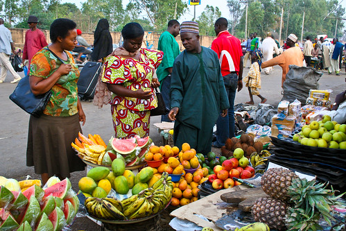 Selection of fruits at the Park market in Nigeria