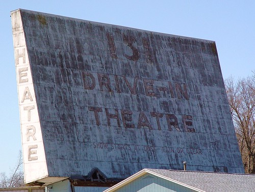 131 Drive-In Theater Screen, Close-Up - Plainwell, Michigan - 4/11/09