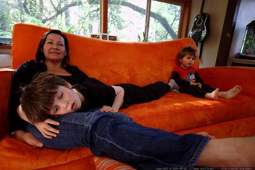 nick takes a great white shark nap in grandma's lap    MG 2359