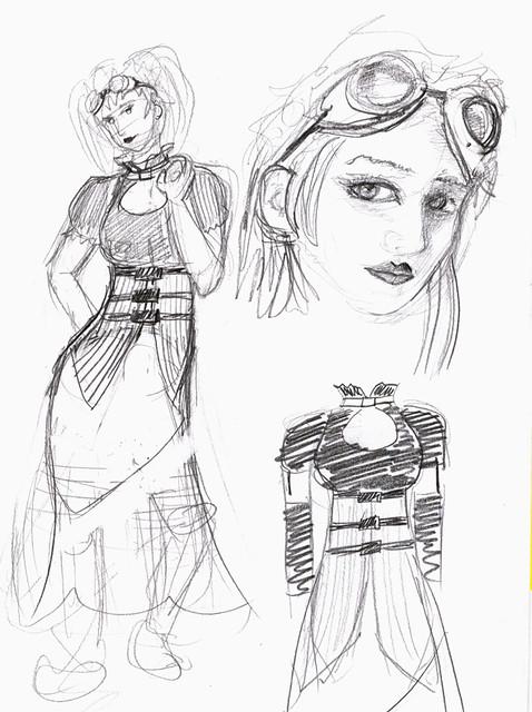 Cyber Punk Lolita Sketch 3