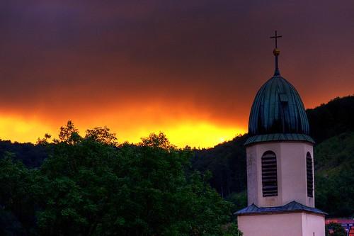 sunset sky sonnenuntergang kirche himmel photomatix ostalb oberkochen