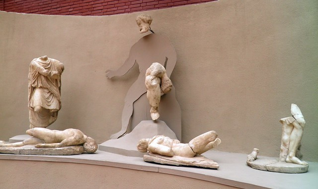 The statues of the Ulysses and Polyphemos group from the Fountain of Pollio, Ephesus Museum, Selçuk, Turkey