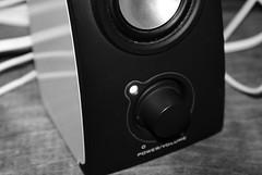 wheel(0.0), loudspeaker(1.0), subwoofer(1.0), electronic device(1.0), computer speaker(1.0), multimedia(1.0), monochrome photography(1.0), electronics(1.0), monochrome(1.0), black-and-white(1.0), black(1.0),
