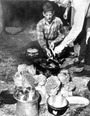 Von Walker and Howe Sadler cooking at their camp site
