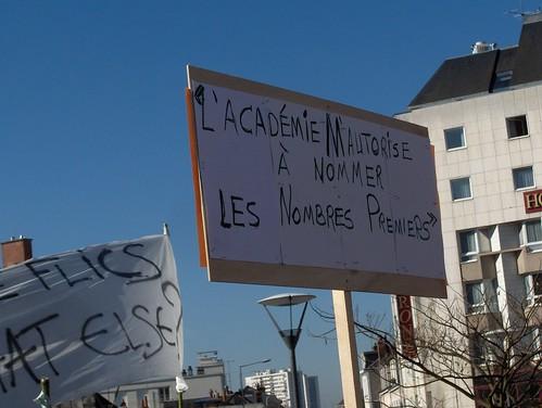 Manifestation unitaire, cortège Universités. Tours, 19.03.2009. Enigmatique.
