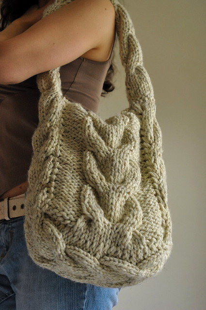 Knitting Pattern Cable Bag : Soul of a Vagabond - classic cable knitted shoulder bag ...