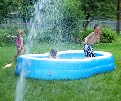 backyard, garden, water feature, grass, water, play, leisure, yard, lawn, inflatable,