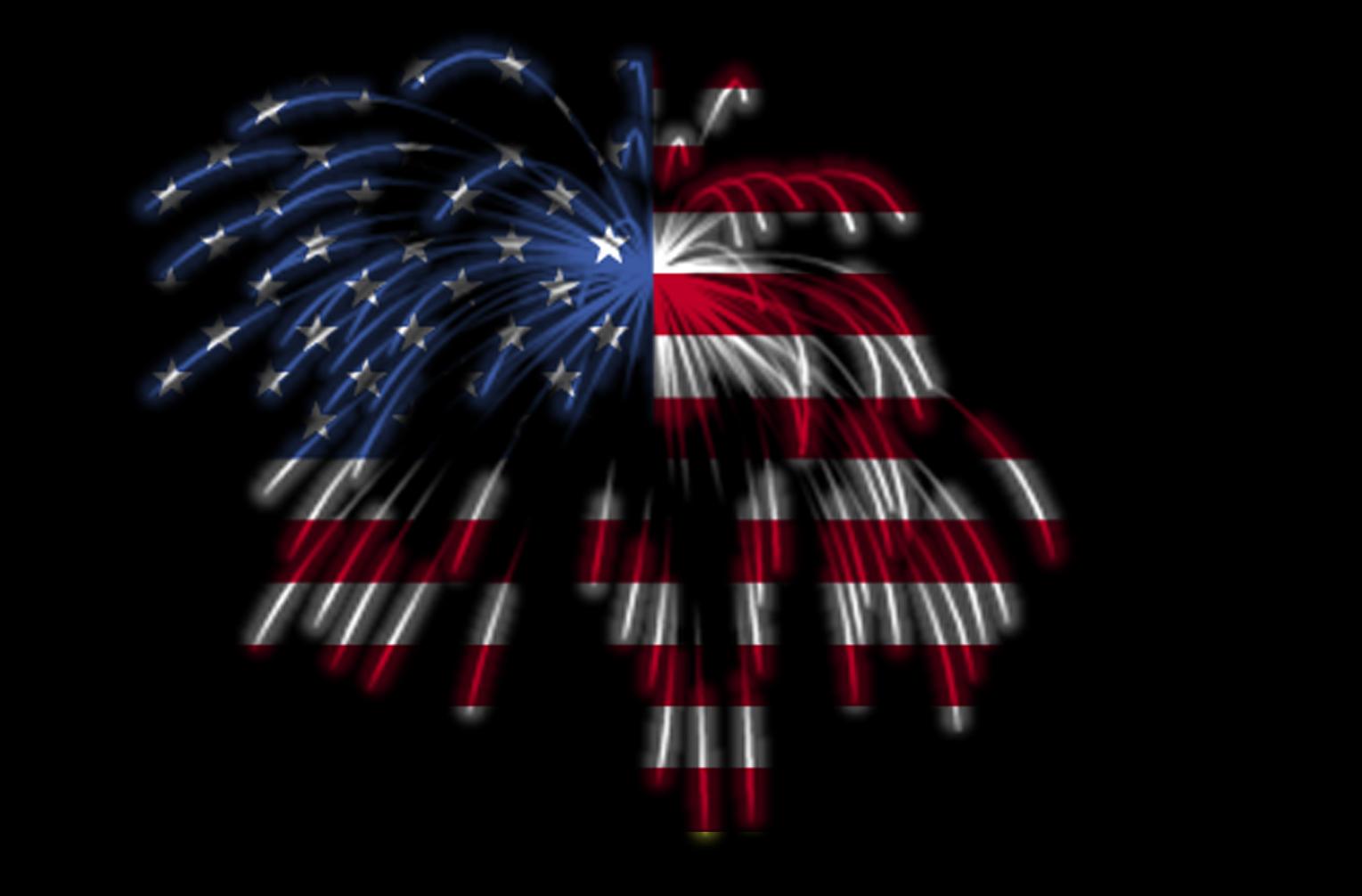 Vintage american flag over july 4th fireworks | Stock