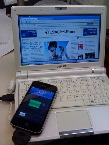 iPhone -> eee pc tether.