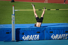 hurdle(0.0), physical exercise(0.0), athletics(1.0), track and field athletics(1.0), sports(1.0), pole vault(1.0), high jump(1.0), person(1.0), athlete(1.0),