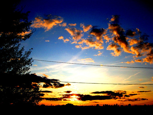 sunset sky sun tree colors clouds colorful skies maine powerline