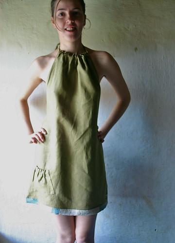 halter dress in olive