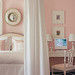 Pretty pink-and-white bedroom: White Dogwood by Sherwin-Williams