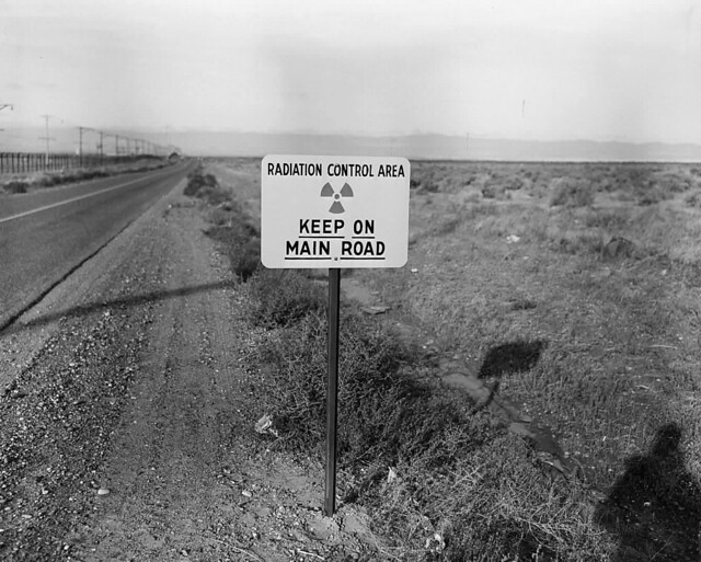 1954 RADIATION ROAD SIGN