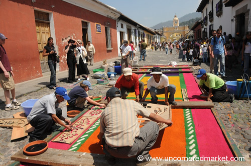 Making Alfombra on Street, Semana Santa - Antigua, Guatemala