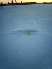 Heart-shaped ice-fishing hole