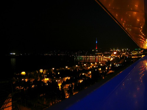 city sea night baku azerbaijan caspian