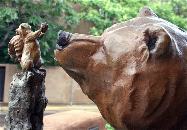 Bronze Bear with Adorable Squirrel