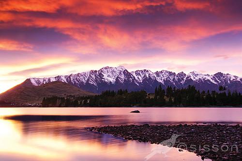 sunset red sunrise queenstown theremarkablesnewzealandlandscapephotography
