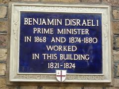 Photo of Benjamin Disraeli blue plaque