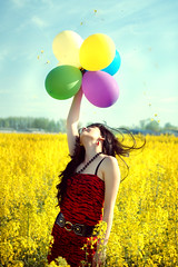 [Free Images] People, Women, Rapeseed / Canola, People - Flowers / Plants, Balloon ID:201202012200