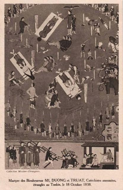 Bienheureux Mi, Duong et Truat, Catéchistes annamites, étranglés au Tonkin le 18 Decembre 1838