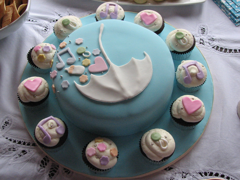 5 examples of cupcake cake synergy for Baby shower cake decoration idea