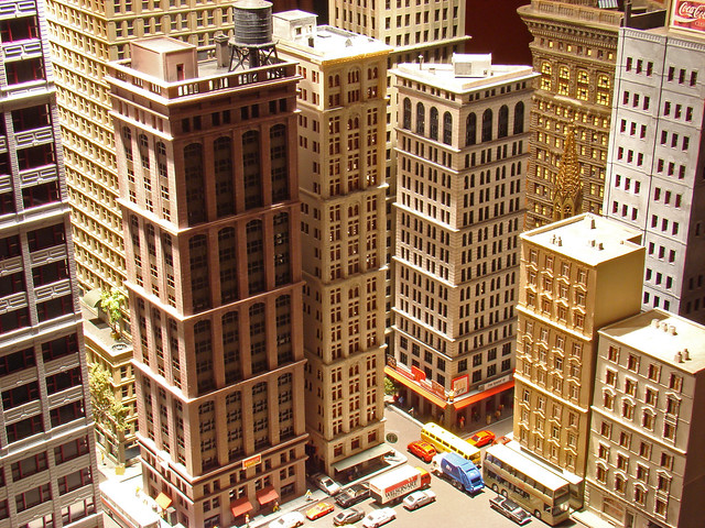 N scale city skyscrapers - Gas and Electric Building (flat iron) Completed ( N scale ) along side my other CMR models ( Model Train Layout ) Custommodelrailroads.com skyscraper models