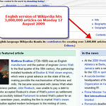 English version of Wikipedia hits 3 million articles - 17 August 2009