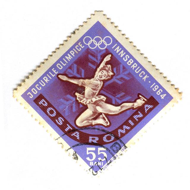 Romania Postage Stamp: 1964 Olympics Figure Skating