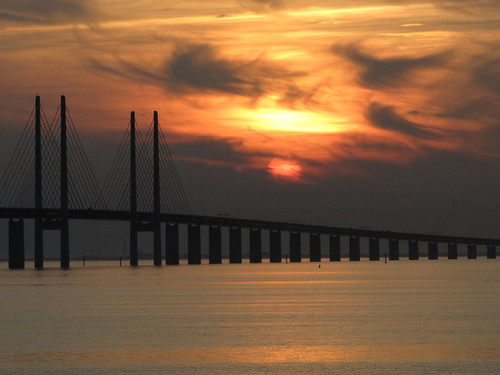sunset at the oresund bridge